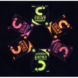 packs polvos holi en colores neón. Fluorescentes